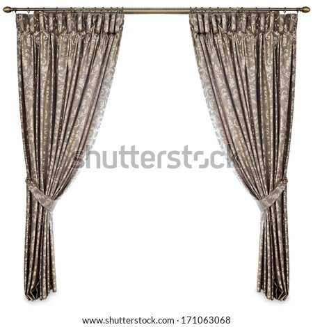 curtains on a white background - stock photo