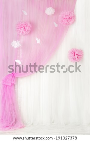 Curtains pink background, blank interior room for girl, window design - stock photo
