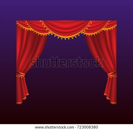Curtains - realistic red drapes. Gradient background. High quality clip art for presentations, banners and flyers, depicting cinema, concert and prize award illustrations.