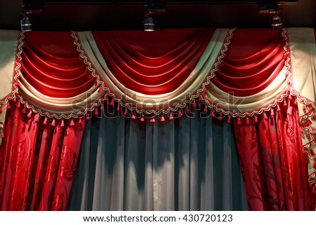 Curtains red velvet on stage theater.