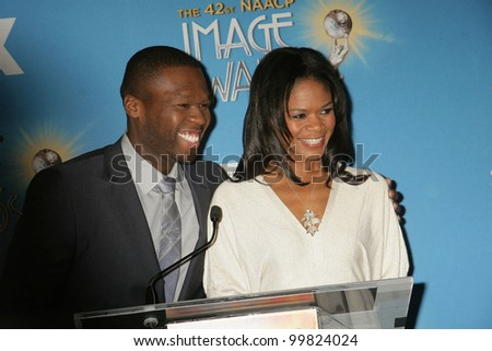 "Curtis ""50 Cent"" Jackson and Kimberly Elise  at the 42nd NAACP Image Awards Nominations Announcement, Paley Center for Media, Beverly Hills, CA. 01-12-11"
