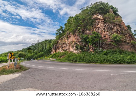 Curve along the mountain roads are. The path to creativity....... - stock photo