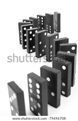 curve line domino,  Black wooden curve line domino. - stock photo