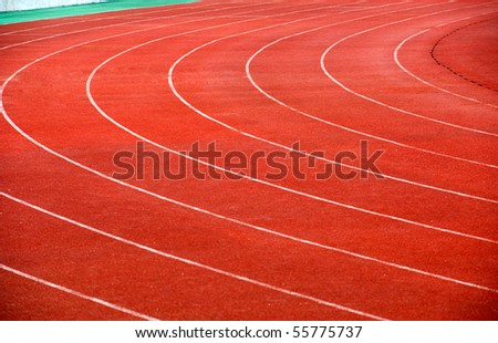 Curve of a running track. - stock photo
