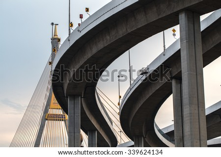 Curve of High way bridge - stock photo