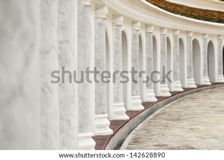Curve of pillars in temple of thailand - stock photo
