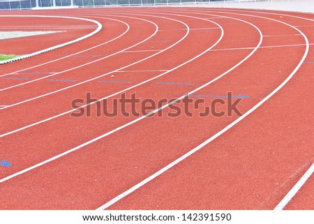 curve of running track lines - stock photo