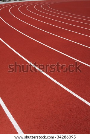 Curve of the running track - stock photo