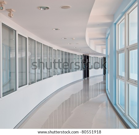 Curve office walkway in modern style - stock photo