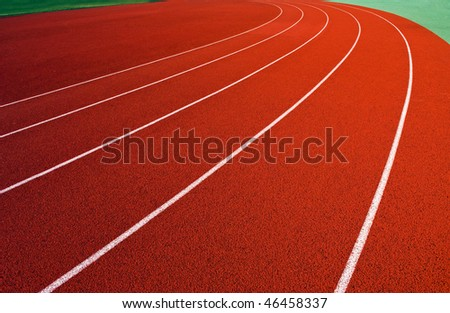 Curve on a running track. - stock photo