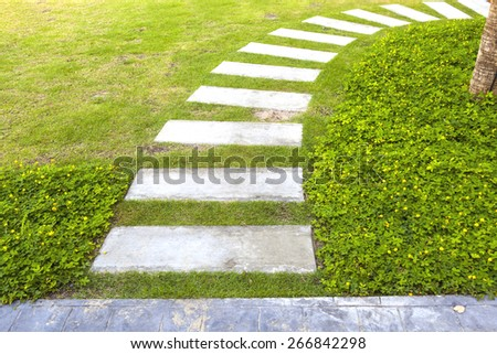 curve path in the garden on green grass background
