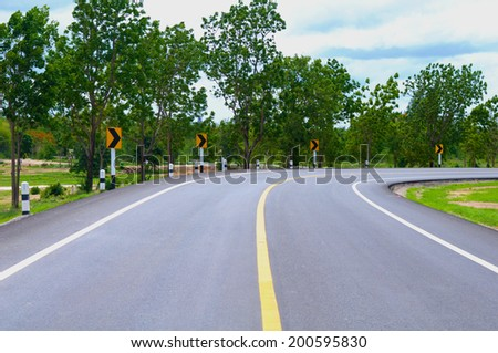 Curve road in Thailand. - stock photo