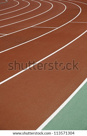 Curve, running track, detail of a curve, sport - stock photo