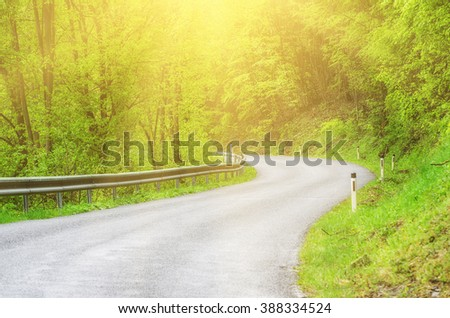 Curved asphalt auto sunny road in the spring green forest, natural outdoor travel background - stock photo