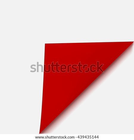 Curved corner of paper with shadow on white background