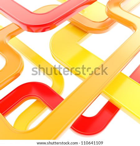 Curved glossy tube lines on white background as abstract technological backdrop
