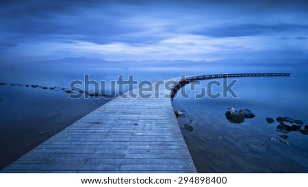 Curved Jetty - Long Exposure - stock photo