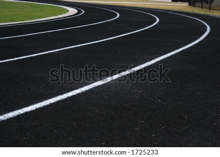 Curved lines of a running track