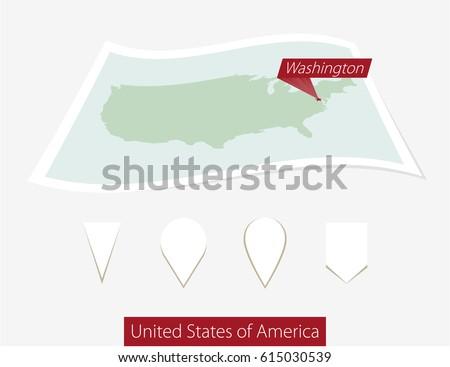 Curved Paper Map Usa Capital Washington Stock Illustration