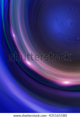 Curved purple, pink, bluelines with flares on blue background  - stock photo