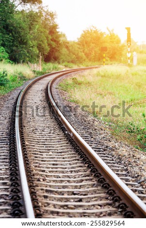 Curved railroad : Filtered Process - stock photo