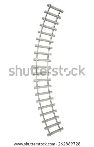 Curved railway isolated on white background, top view. 3d illustration high resolution