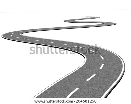 Curved road on white - stock photo