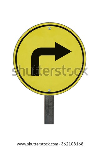 curved road sign