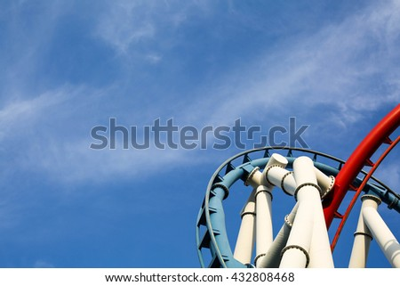curved rollercoaster track - stock photo
