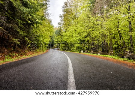 Curved serpentine mountain forest road in Romanian Carpathian. - stock photo