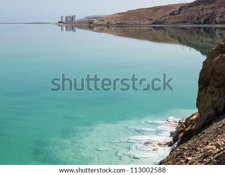 Curved shore of the Dead sea - Israel - stock photo