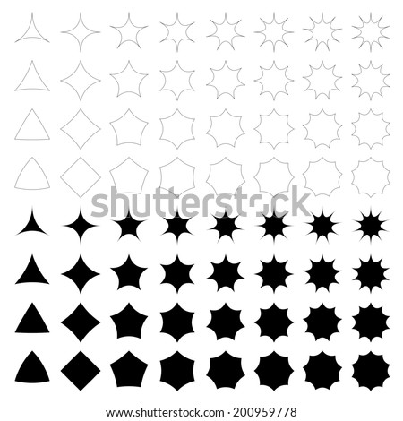 Curved star silhouette collection - jpg version - stock photo