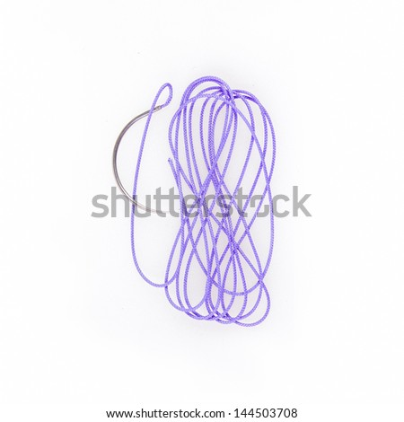 Curved surgical needle isolated on white - stock photo