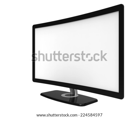 Curved tv screen, isolated on white background
