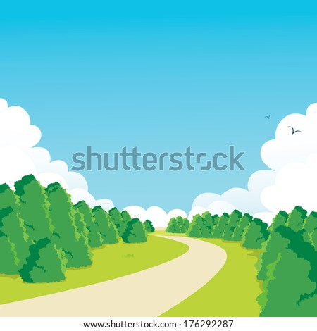 Curved walkway through peaceful green park landscape background scene