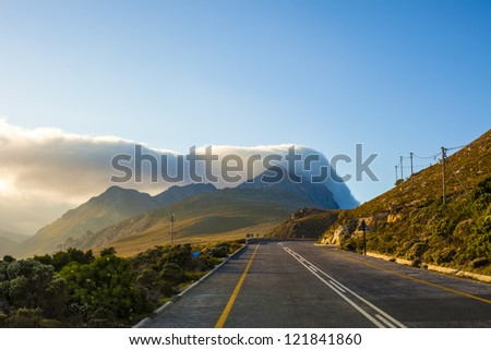 Curving highway near Cape Town, South Africa - stock photo