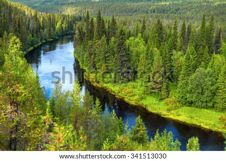 Curving Oulanka river in Oulanka National Park (alongside river several hiking routes).