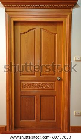Curving wooden door - stock photo