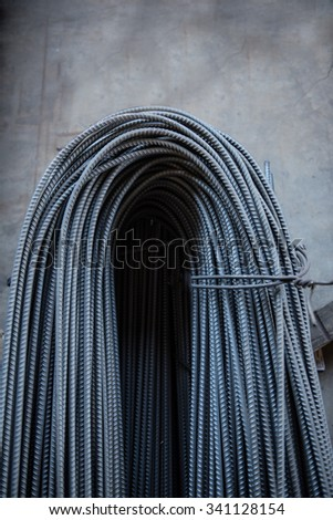 Curvy iron steel bars for construction