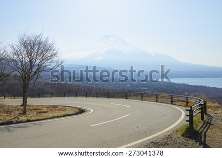 Curvy mountain road in japan - stock photo