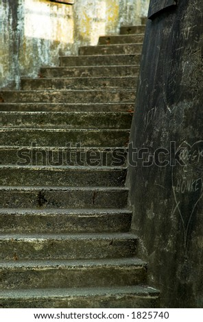 Curvy stone stairs. - stock photo