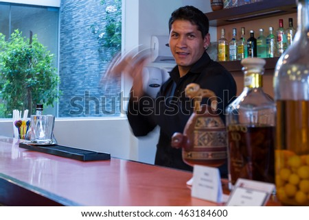 Cusco, Peru - May 13 : Bartender preparing a Cusco Sour in a beautiful bar downtown Cusco. May 13 2016, Cusco Peru.