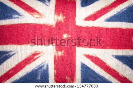 Cushion cover painted with the Union Jack flag.