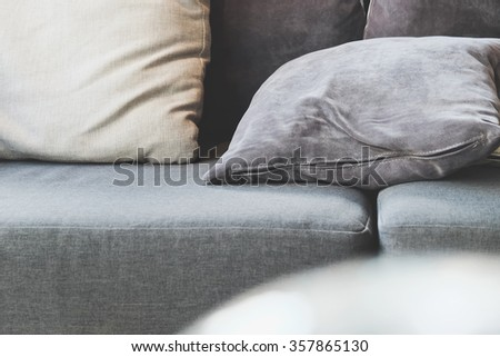 cushion on sofa,detail image of cushion on sofa, modern living room.