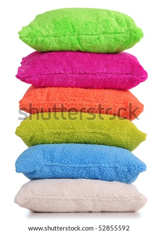 Cushion tower. Isolated - stock photo