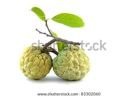 custard apple tropical fruit on a white background,Thailand - stock photo