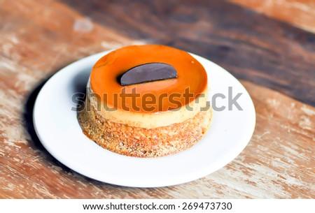 custard, custard cake,panna cotta,creme caramel dessert - stock photo