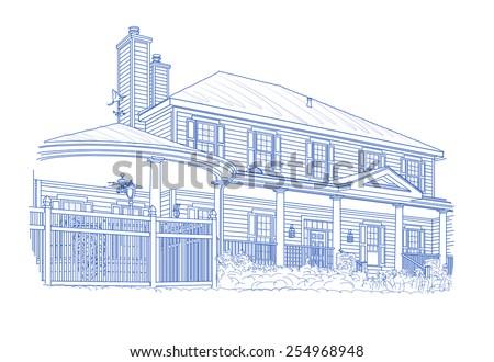 Custom Blue House Drawing on White Background. - stock photo