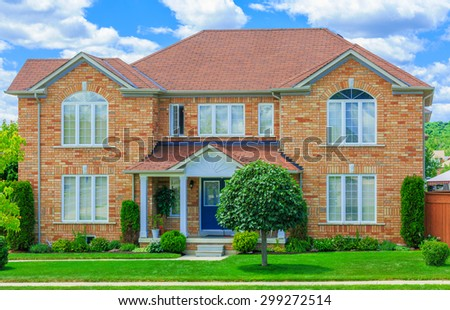 Custom built luxury house  in the suburbs of Toronto, Canada. - stock photo