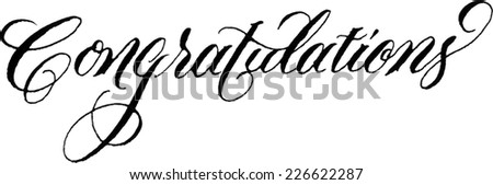 "Custom hand lettered ""Congratulations"""